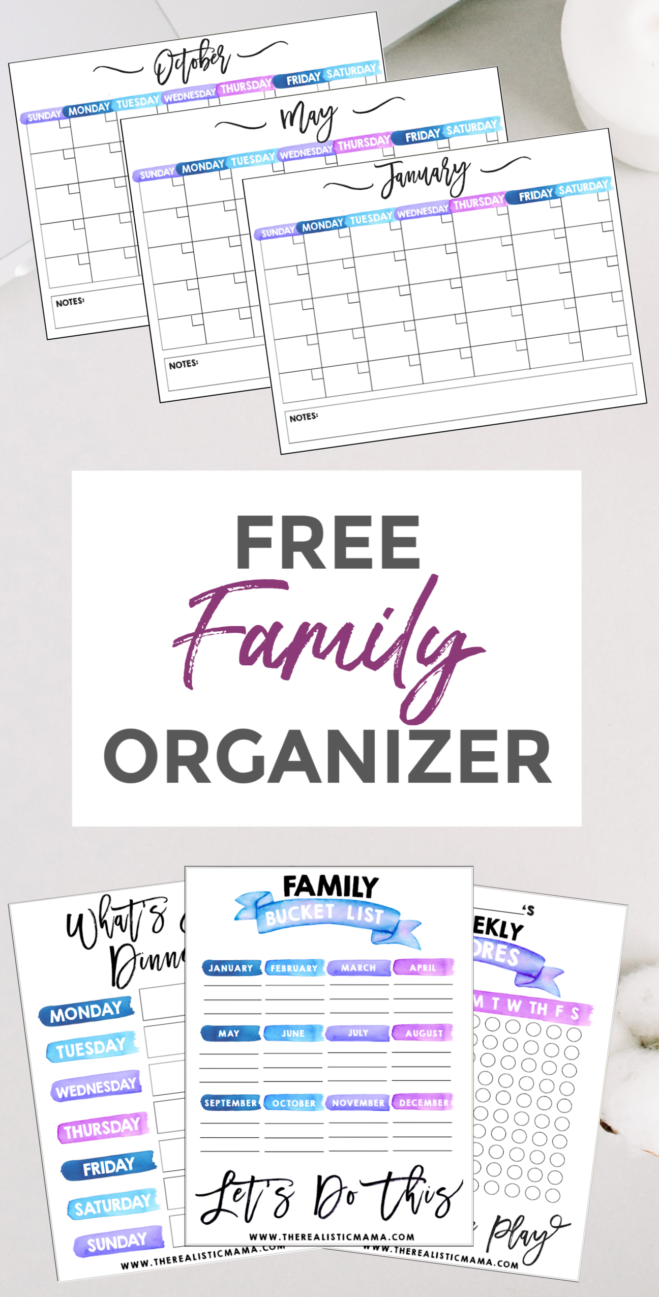FREE PLANNER for MOMS! Monthly Calendars + Meal Planners