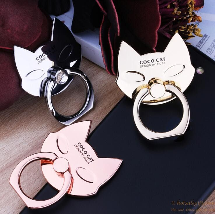 Cartoon cat shaped metal finger ring holder for android