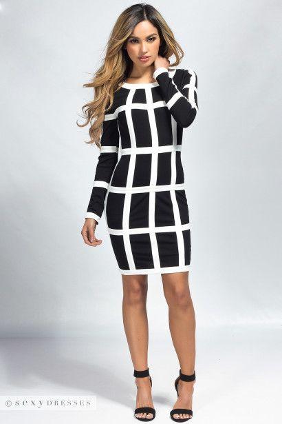 Edie Black White Mod Long Sleeve Bodycon Midi Dress Cocktail