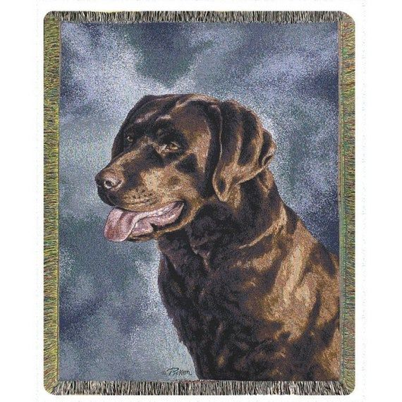Personalized Brown Chocolate Lab Dog Throw Blanket Dog