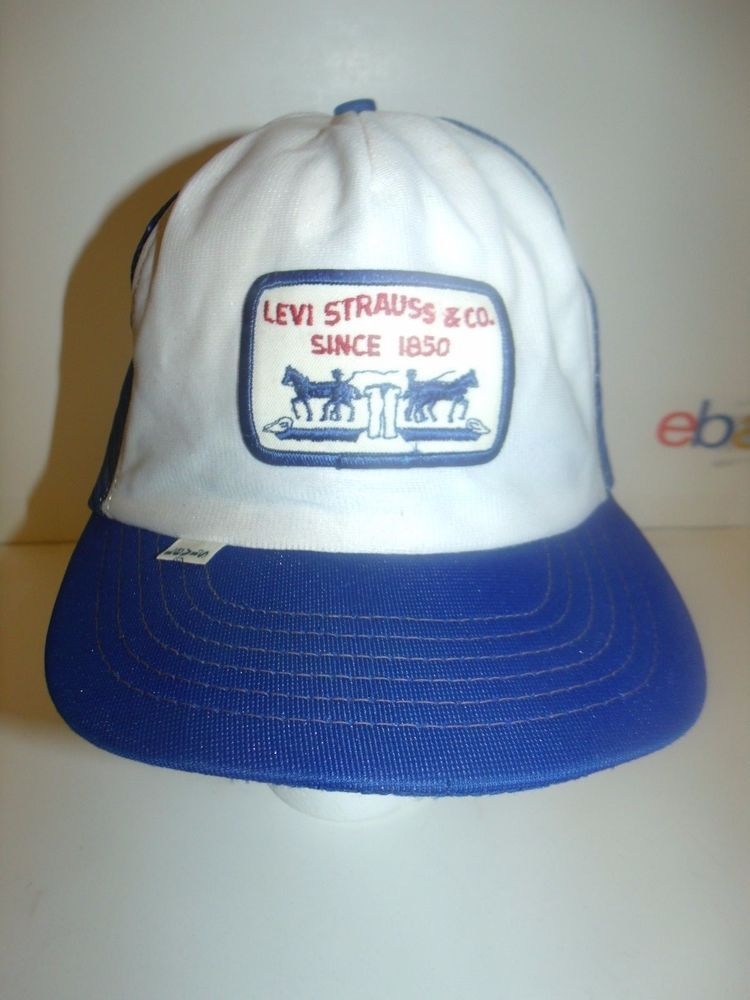 VINTAGE LEVI S LEVI STRAUSS TRUCKER HAT SNAPBACK RED WHITE BLUE MADE IN USA   Levis 97bedc5f978