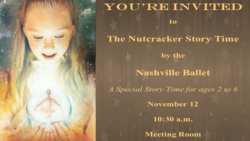 The Nashville Ballet presents a very special story time for ages 2 to 6. The presenter tells the story, plays some of the music and teaches the children a few of the dance steps. It is a very special 40 minute program planned to charm the youngest ballet enthusiasts.