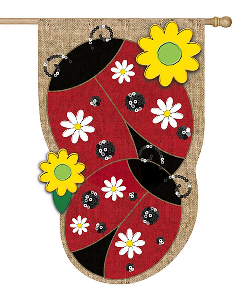 Look at this Burlap Two Ladybugs Flag on #zulily today!