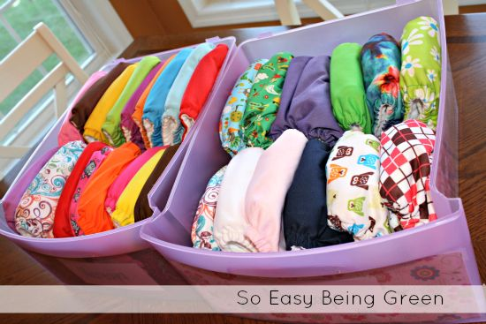 Great tips on how to store cloth diapers. #clothdiapers