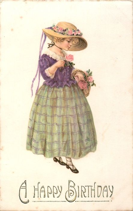 A HAPPY BIRTHDAY straw-hatted girl in purple top & green skirt walks half right looking down at pink rose, others in basket