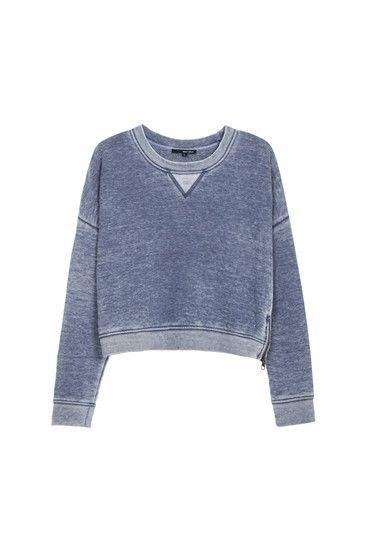 Lightblue Acidwash Crop Sweater Tallyweijl Musthave Dream