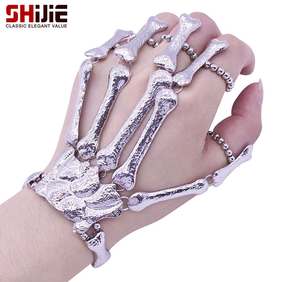 Shijie halloween skull hand bone finger chain bracelet men punk gold