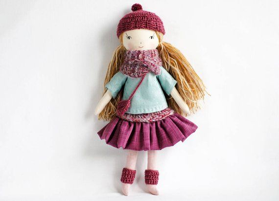 Handmade cloth rag pixie doll, OOAK dolls birthday Christmas gift ...