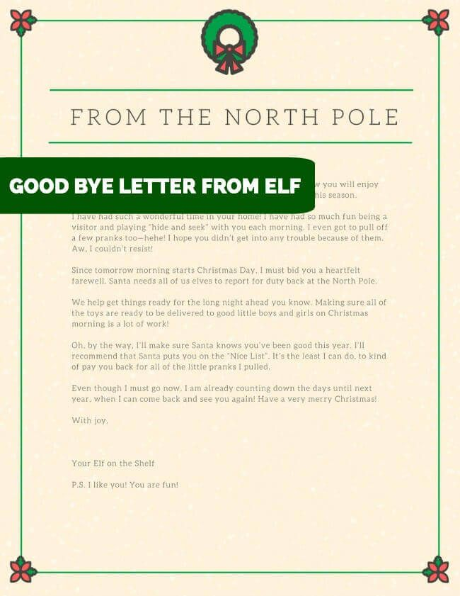 14 Awesome Ways to Say Good-bye to your Elf Elves and Shelves - goodbye letter