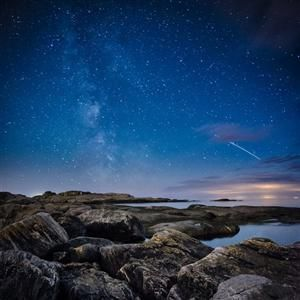 Island off the coast of Gothenburg City, Sweden  Perseid Meteor...