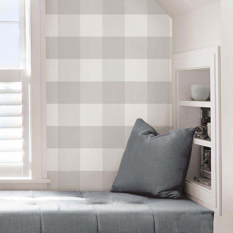 Wallpops Farmhouse Gray And White Plaid Peel And Stick Wallpaper Nu2691 Plaid Wallpaper Nuwallpaper Peel And Stick Wallpaper