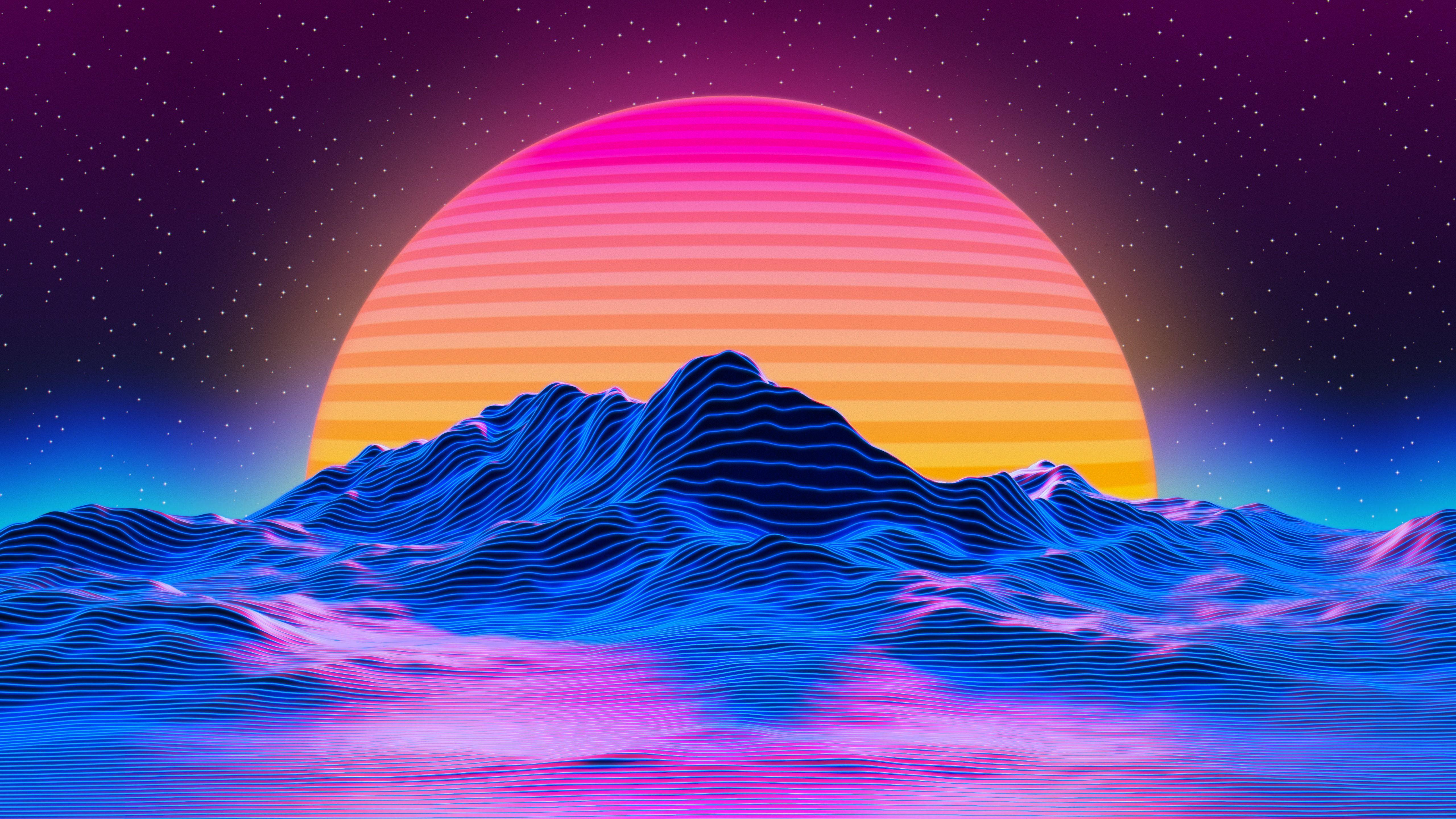 Sun Mountain Neon Sunlight Landscape In 2020 Desktop Wallpaper Art Aesthetic Desktop Wallpaper Vaporwave Wallpaper