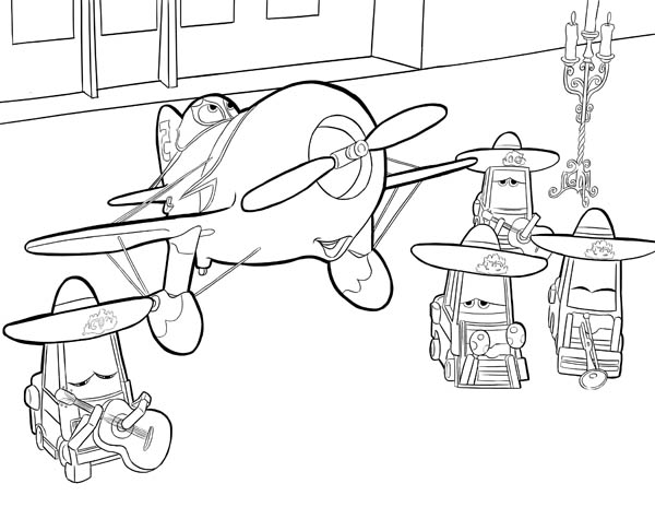 El Chupacabra And His Team In Disney Planes Coloring Page Kids Play Color Coloring Pages Plane Coloring Pages Disney Planes