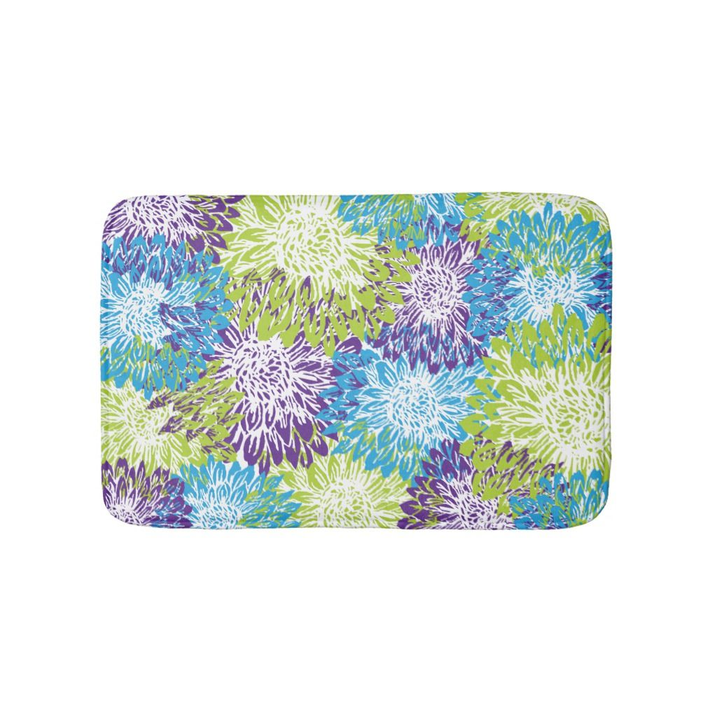 Lime Green Mums Bathroom Mat