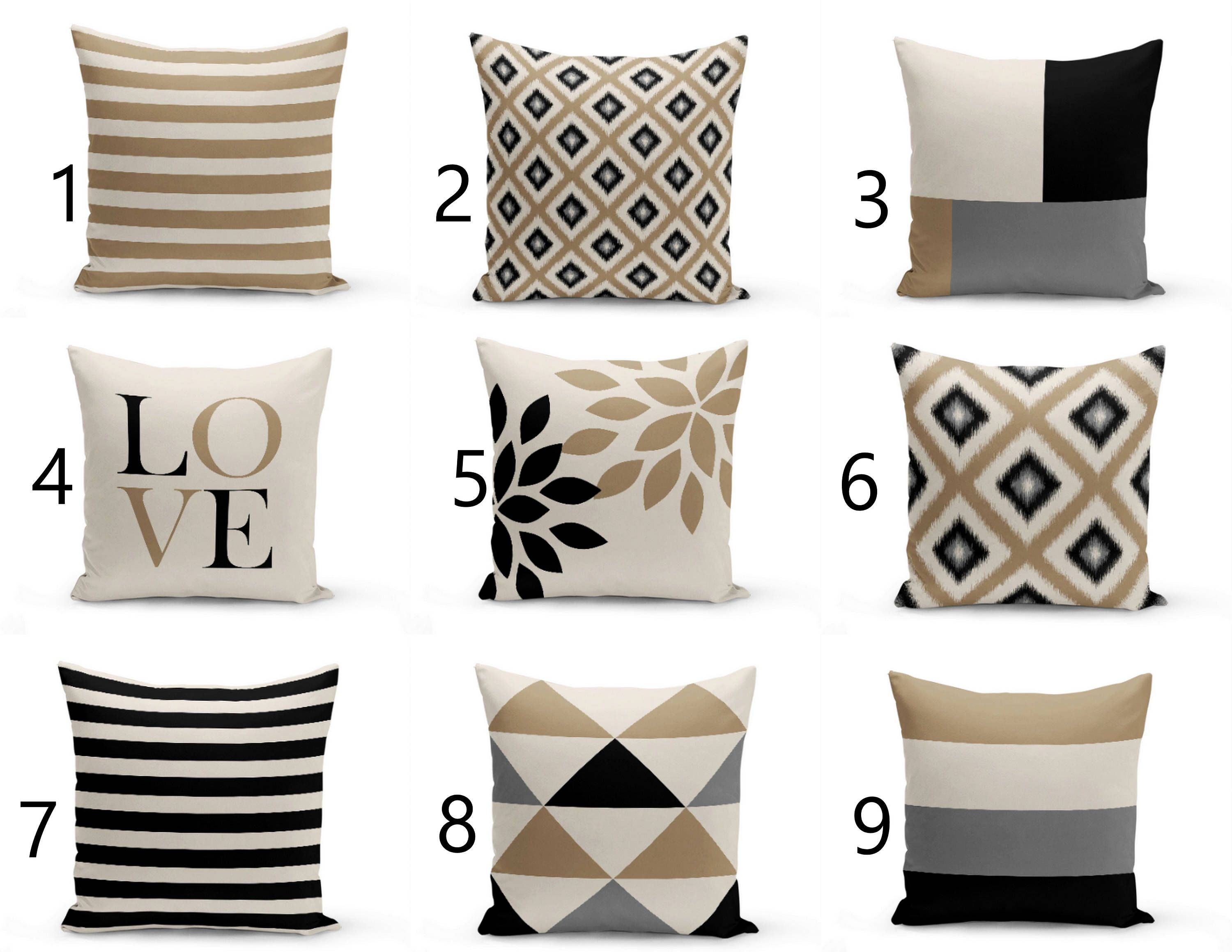 Outdoor Pillows Taupe Black Beige Grey Outdoor Home Decor Etsy