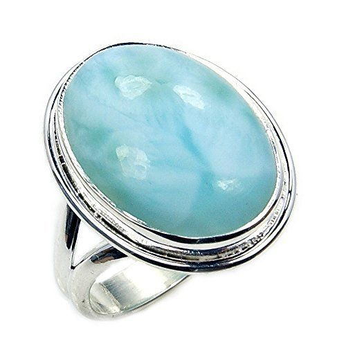 'Stone of Atlantis' Sterling Silver Natural Dominican Larimar Ring, Size 7  Price : $52.95 http://www.silverplazajewelry.com/Atlantis-Sterling-Silver-Natural-Dominican/dp/B00KX7O9N4