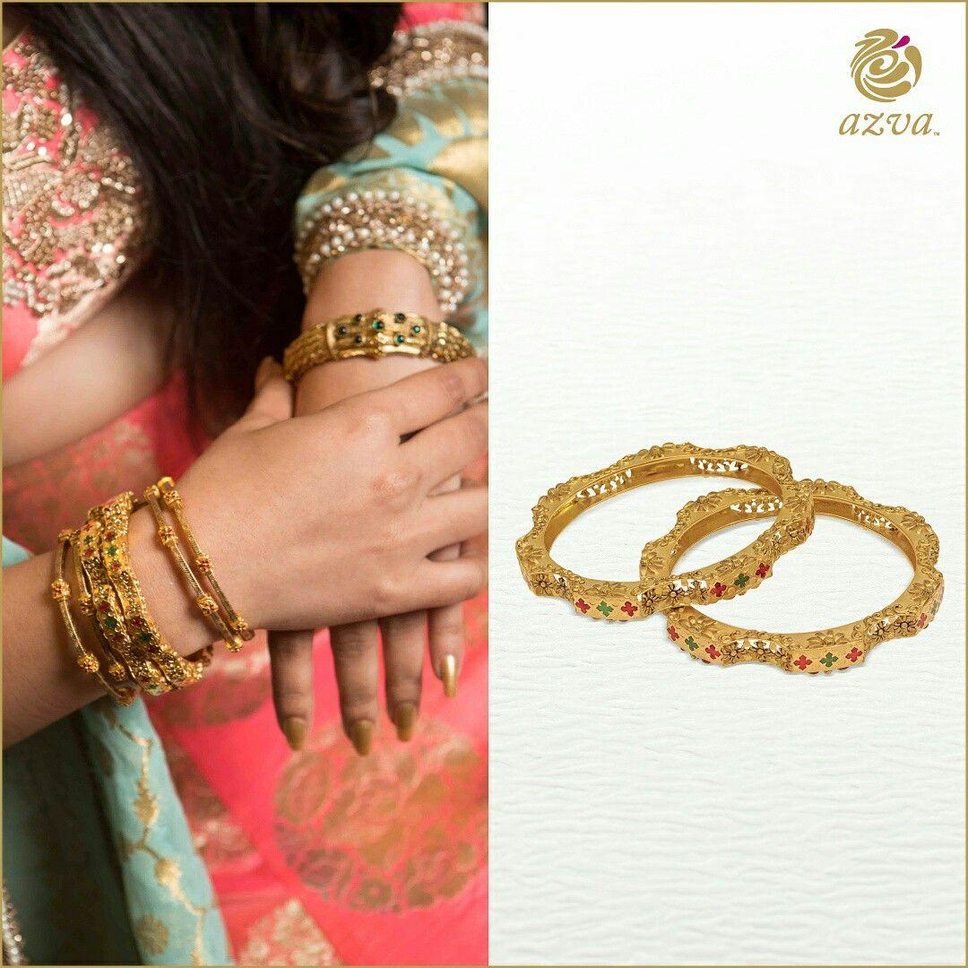 517e54a15f451 Azva gold bangles with lattice scrolls designs and enamel work ...