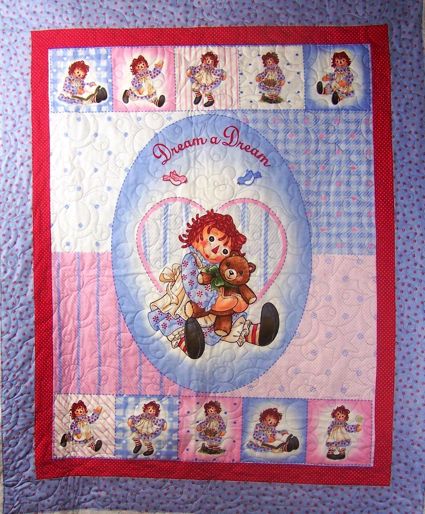 Raggedy Ann Quilt by Wendy W. with Teddy Bear pantograph ... : raggedy ann quilt pattern - Adamdwight.com