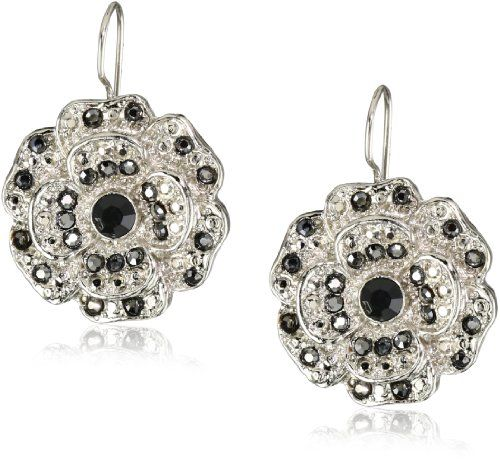 1928 Jewelry Starry Black Hemae Flower Silver On Drop Earrings And Things