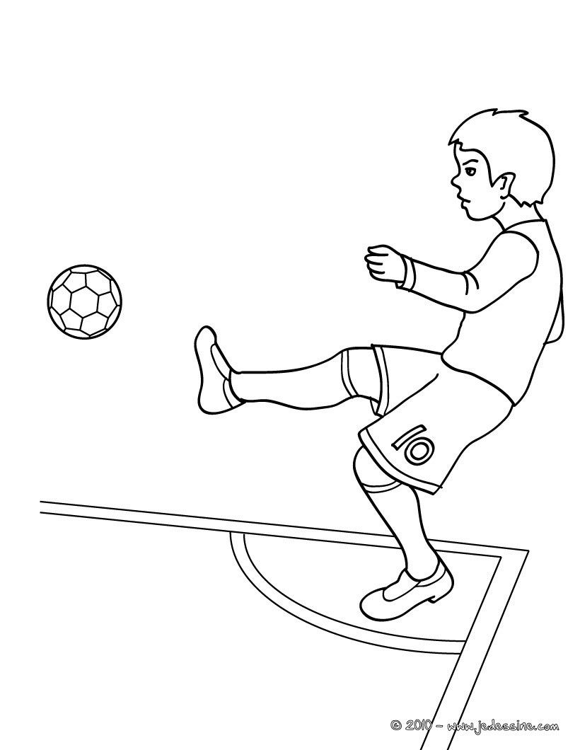 Coloriage Match De Football.Coloriage D Un Joueur De Foot Qui Fais Un Corner Pendant Un Match De