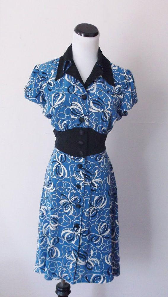Trashy Diva silk 1940s retro black Blue Bows print Darling Dress S  | eBay