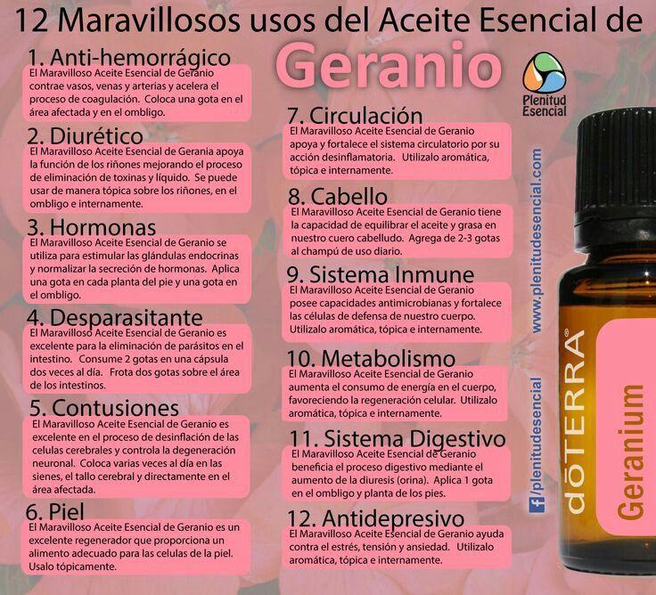 Geranio usos just pinterest geranios aceites for Aceites esenciales usos