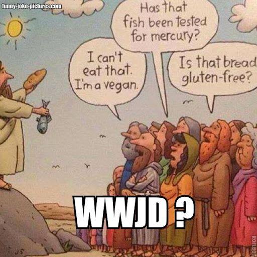 Jesus bread fish vegan gluten free cartoon funny joke for Can vegetarians eat fish