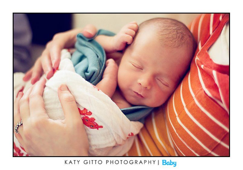 newborn and mom in home