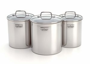 129 95 The New Set Of Three Attractive All Clad Stainless Steel Storage Container Stainless Steel Canister Set Kitchen Canister Sets Stainless Steel Canisters