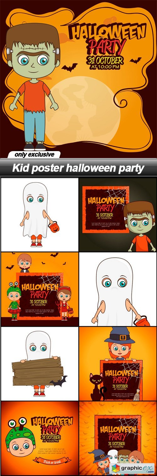 Kid poster halloween party - 9 EPS