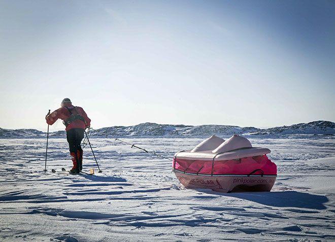pink polar. boob sled across Antarctica.