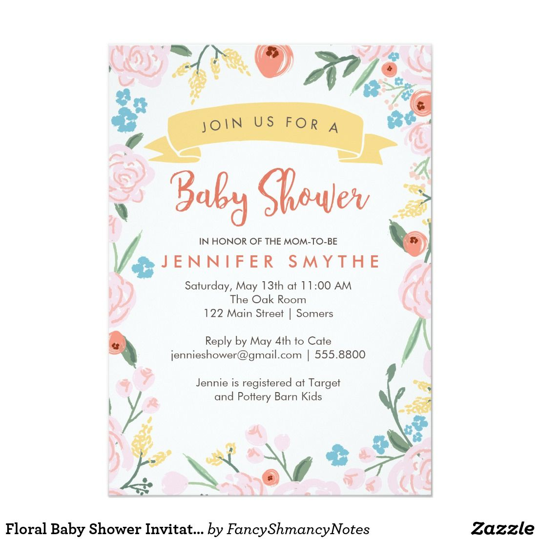 Floral baby shower invitation boy or girl card shower floral baby shower invitation boy or girl card a great invitation for baby shower for a boy or girl the neutral color flowers in peach green pink stopboris Choice Image