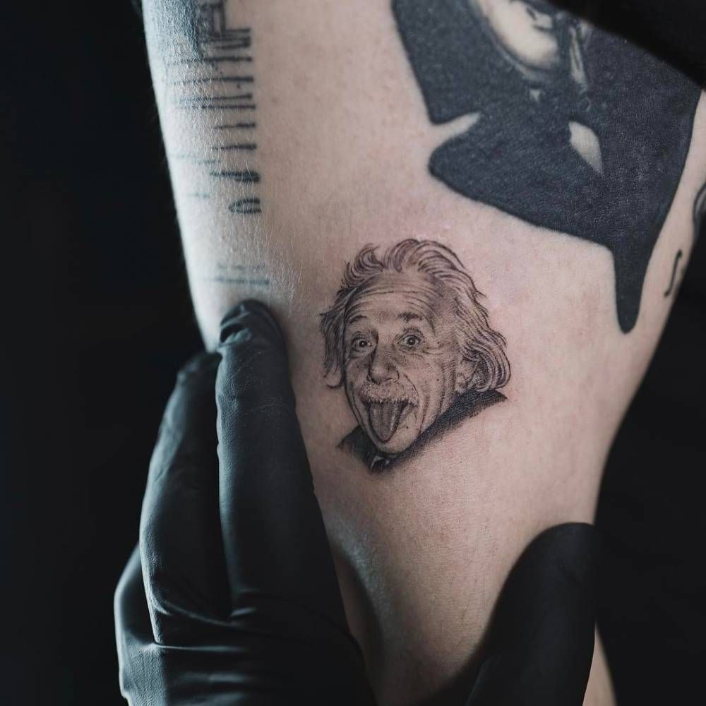 Albert Einstein Portrait Tattoo On The Upper Arm Tattoo Artist