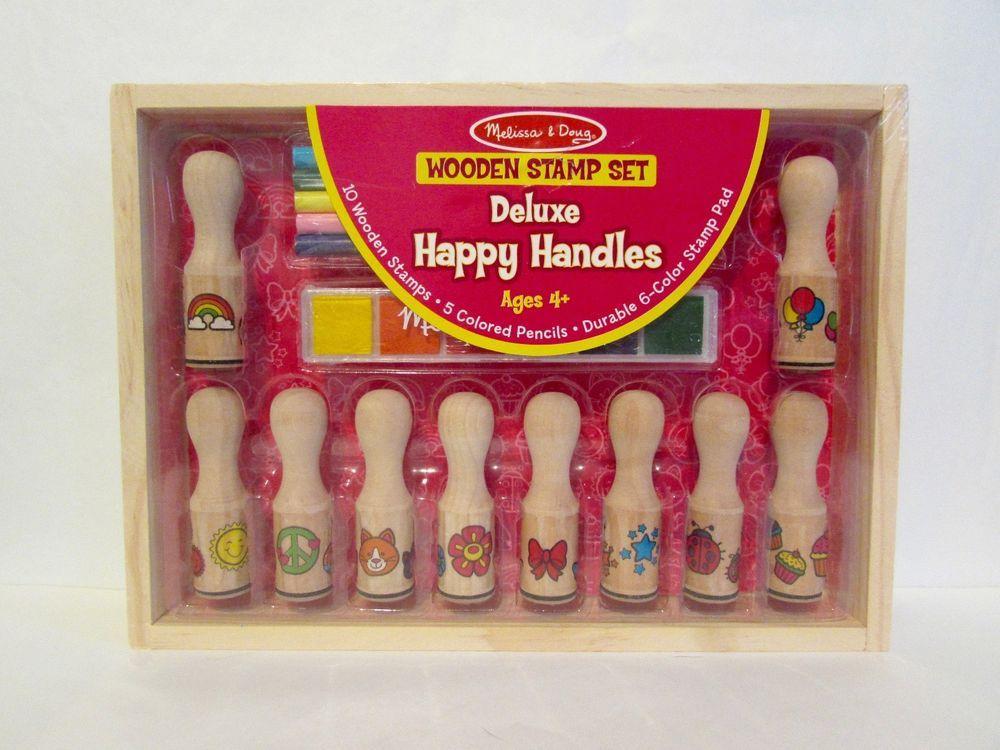 Melissa Doug Deluxe Happy Handles Wooden Stamp Set 2306