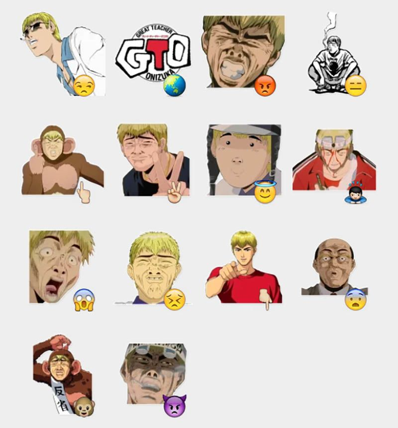 Great teacher onizuka reactions stickers set telegram stickers
