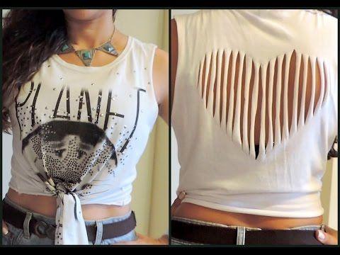 17a55d9f6 DIY Camisetas Customizadas - Cortada e Trabalhada nas Costas - DIY T-shirt  - Como Fazer - YouTube