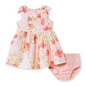 Baby Girls Floral Lawn Dress Pink Cherokee Baby Girl Clothes
