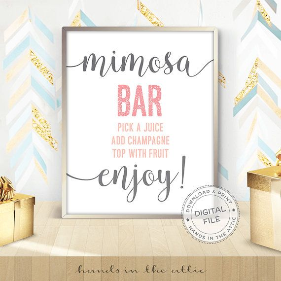 Mimosa bar sign, bridal shower display, bachelorette party props, drinks signage, party signs, pre-wedding celebration, DIGITAL download -   20 diy bar party