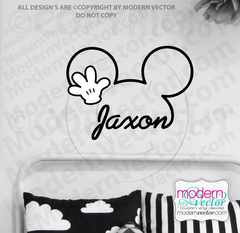 PERSONALIZED Mickey Mouse Signature Name With Hand Vinyl Wall - Custom vinyl wall decals disney