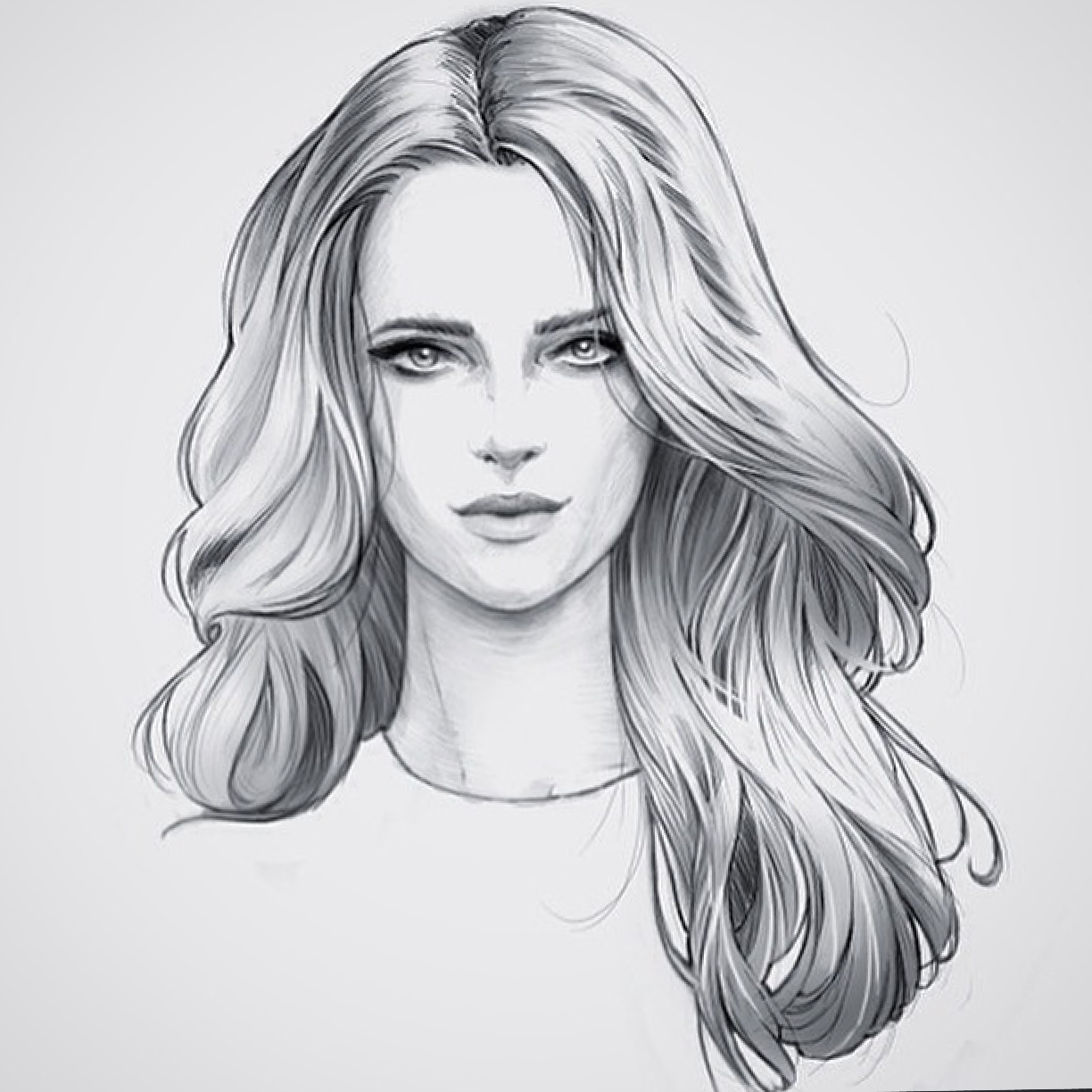 Hair female fashion illustration hair face illustration woman drawing pencil art