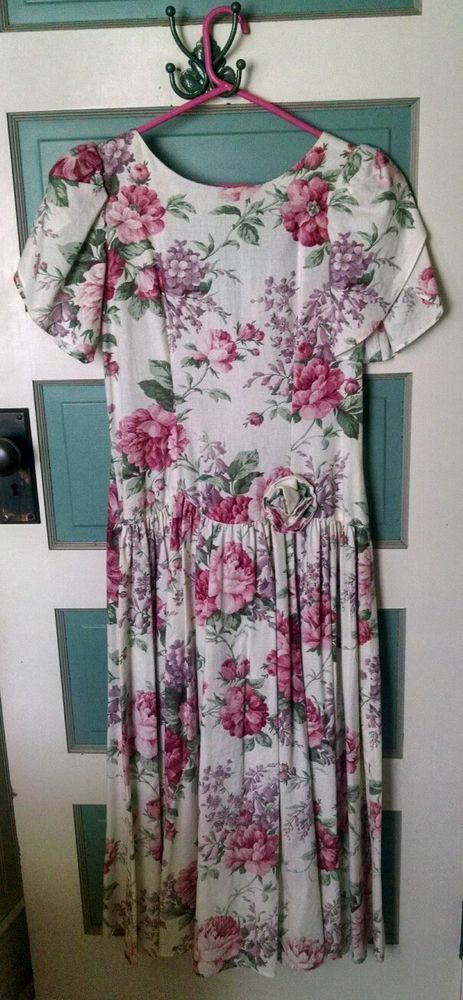 Womens handmade cotton dress 1992 vintage cabbage rose pattern cotton size 9 | Clothing, Shoes & Accessories, Vintage, Women's Vintage Clothing | eBay!