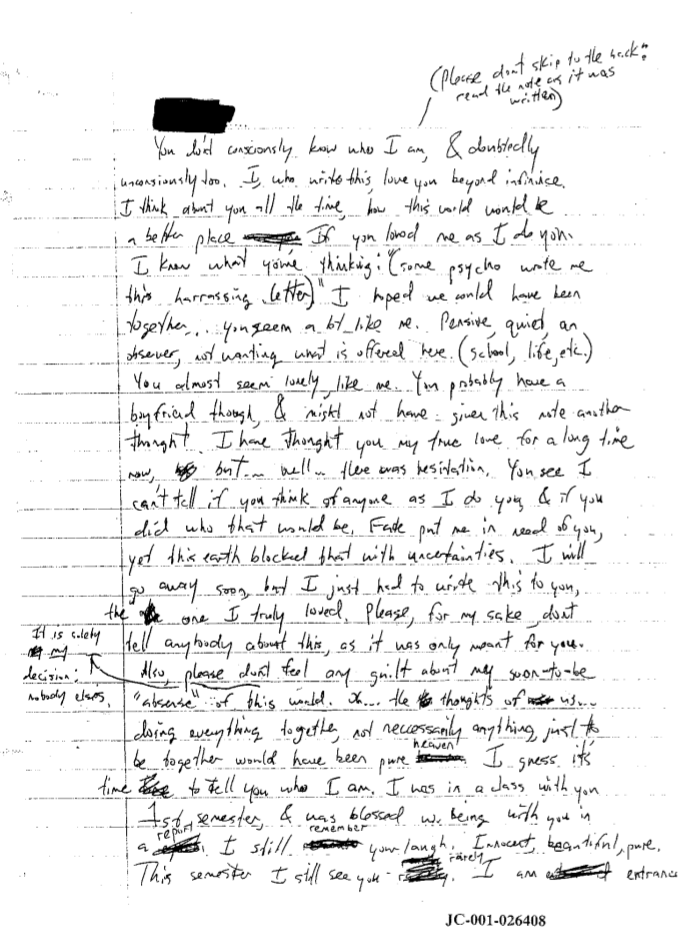 dylan's love letter, this breaks me | Dylan Klebold