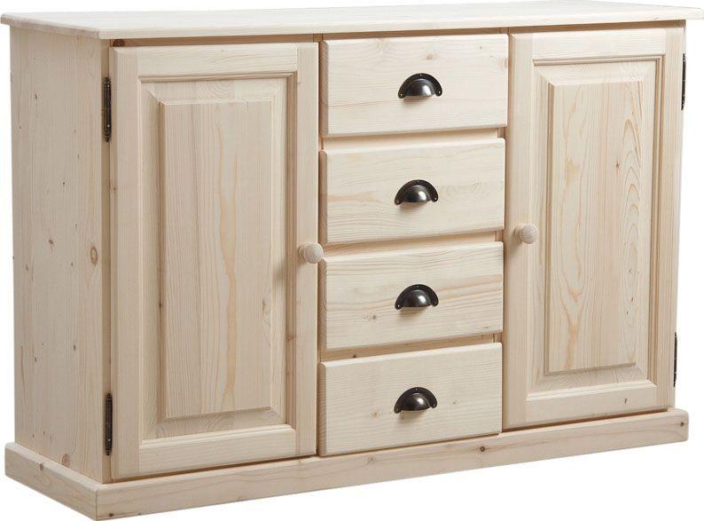 Meuble bois brut 2 portes 4 tiroirs sur House - Peindre Des Portes En Bois