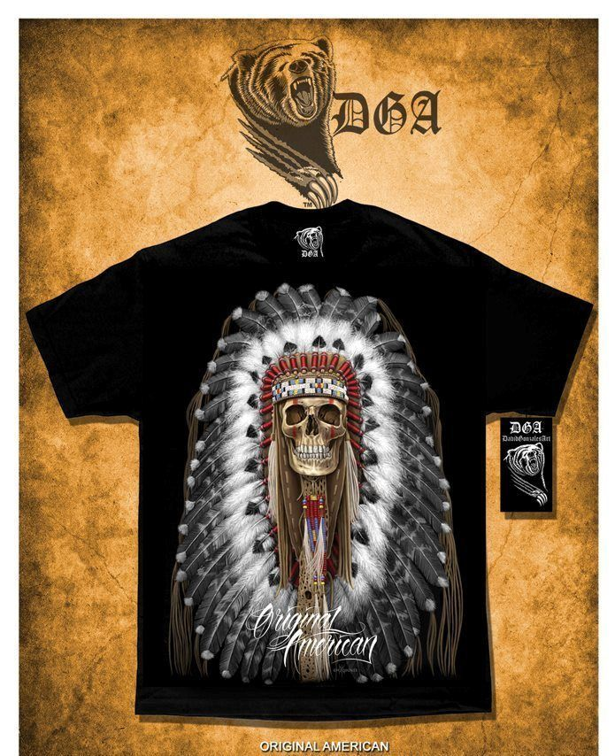 64bc8b52 Authentic DGA David Gonzales Art Original American Native Indian Skull T  Shirt in Clothing, Shoes & Accessories, Men's Clothing, T-Shirts | eBay