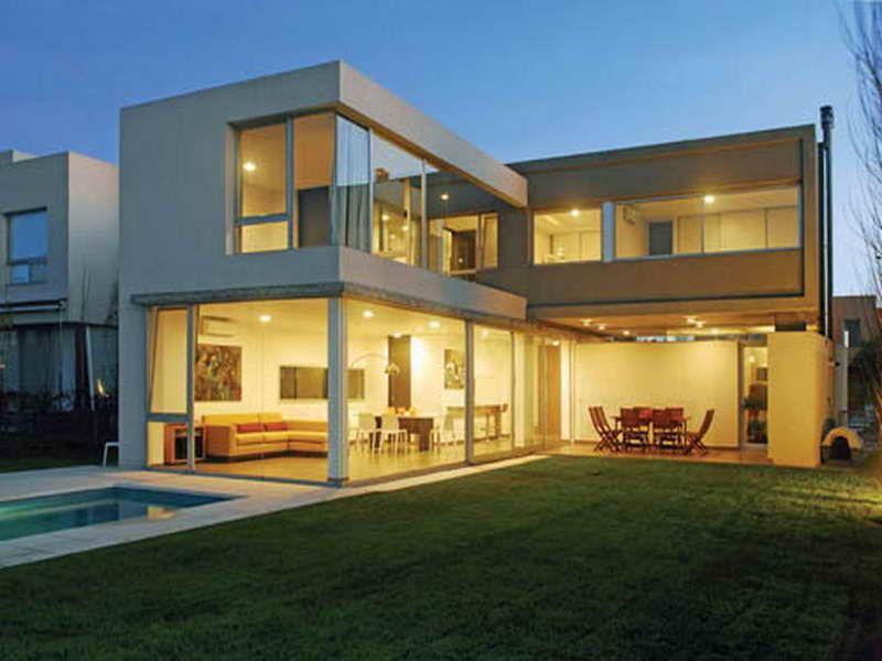 Architecture L Shaped Home Design With Large Glass Wall