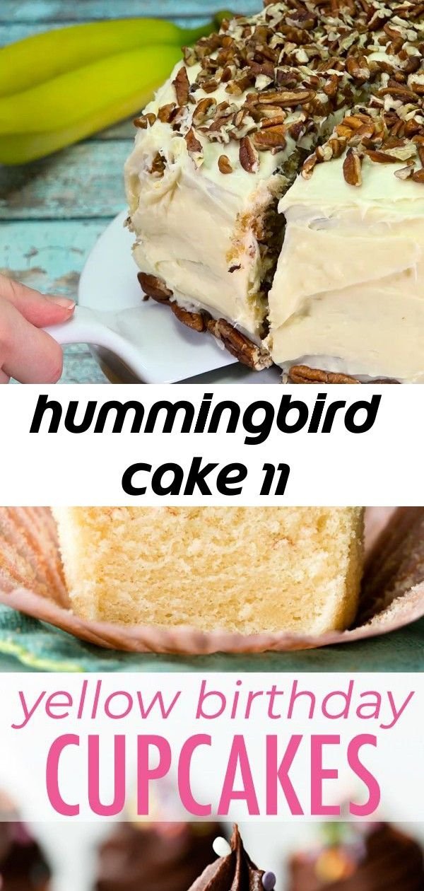 Hummingbird cake 11 Hummingbird Cake flavored with banana pineapple and cinnamon With a cream cheese frosting Super moist yellow birthday cupcakes with creamy and rich ch...