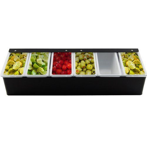 Bar Garnish Tray Black 6 Compartments By Kegworks Http Www Dp B006w959x6 Ref Cm Sw R Pi Dp Mx 8qb0e58gb3 Condiment Holder Alcohol Bar Garnish