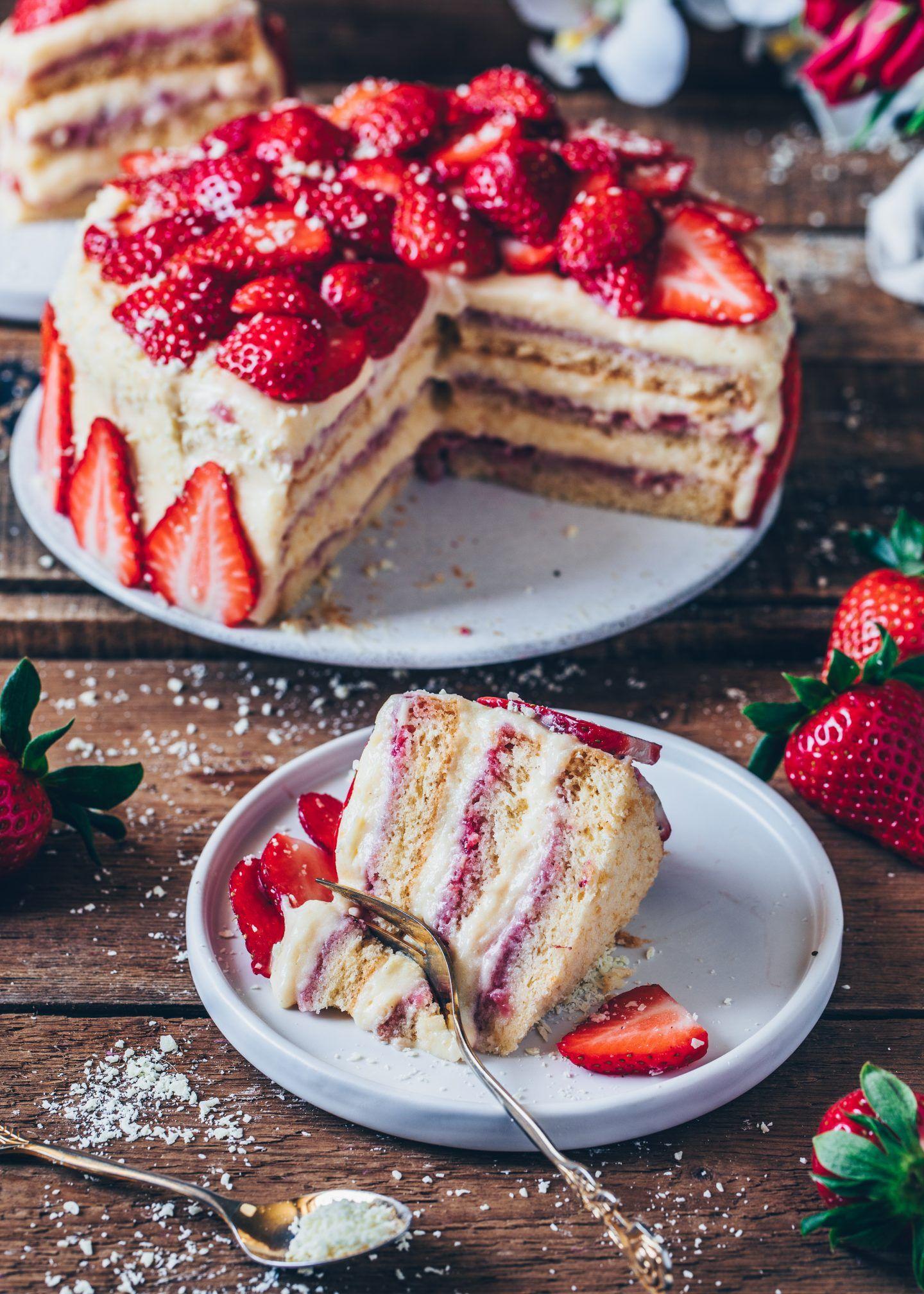 Erdbeer-Creme-Torte (Vegan) - Bianca Zapatka | Rezepte