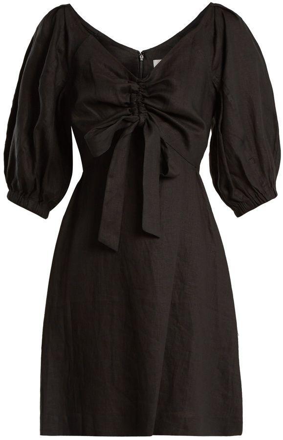 Painted Heart V-neck gathered linen midi dress Zimmermann Clearance Sale VVXHkrJLk