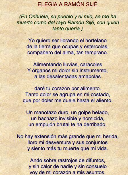 Elegía A Ramón Sijé De Miguel Hernández Representante De La Generación Del 27 Poemas Miguel Hernandez Poemas Elegía